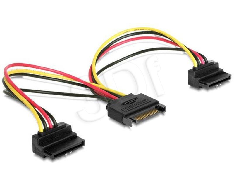 Gembird cable power SATA 15 pin -> 2x SATA HDD (angled connectors) kabelis datoram