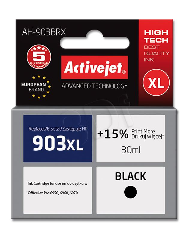 Ink Activejet AH-903BRX (for printer Hewlett Packard, replacement 903XL T6M15AE premium 30m black Chip)