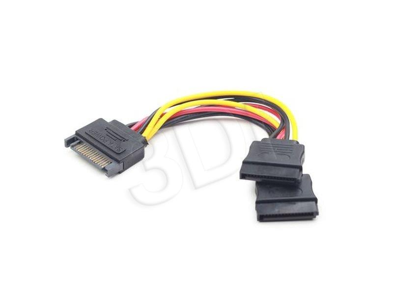 Gembird cable power SATA 15 pin -> 2x SATA HDD - straight kabelis datoram