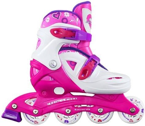 NILS Extreme Adjustable rollers NJ / NA0321 white and pink laying S 26-30 (16-01-010) Skrituļslidas