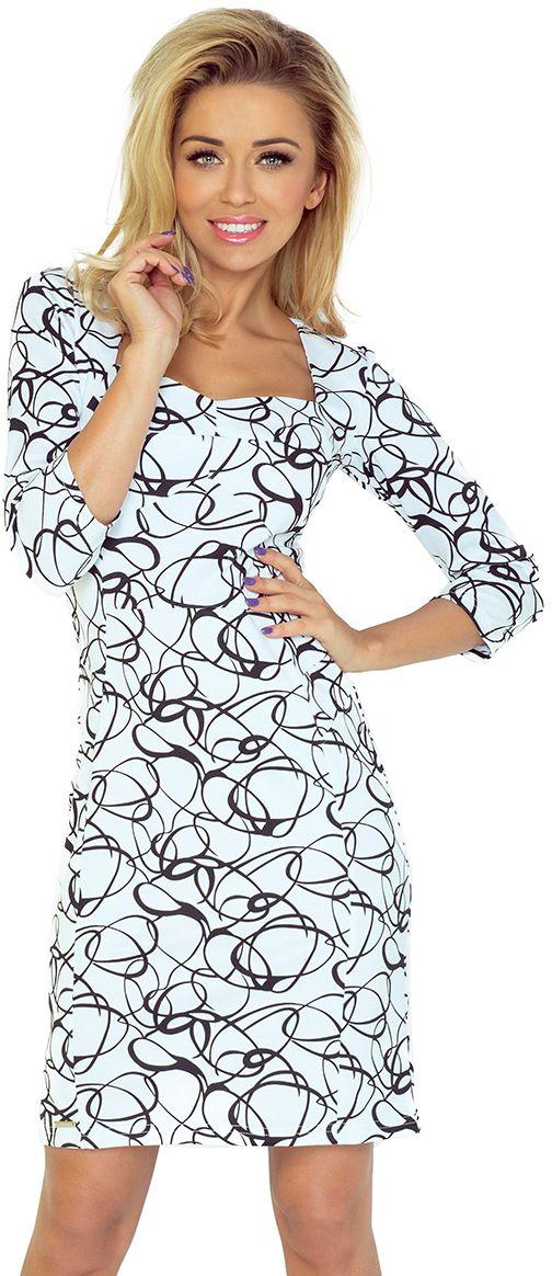 numoco Sukienka z ladnym dekoltem i rekawkiem 3/4 136 czarno-biala r. L 762-4817 Kleitas sievietēm