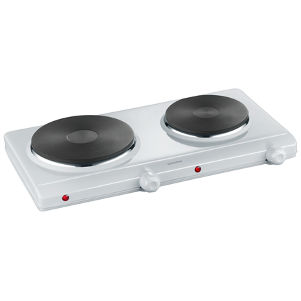 Severin Free standing table hob DK 1042 Number of burners/cooking zones 2, Rotary, White, Electric plīts virsma