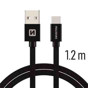Swissten Textile Universāls Quick Charge 3.1 USB-C Datu un Uzlādes Kabelis 1.2m Melns USB kabelis