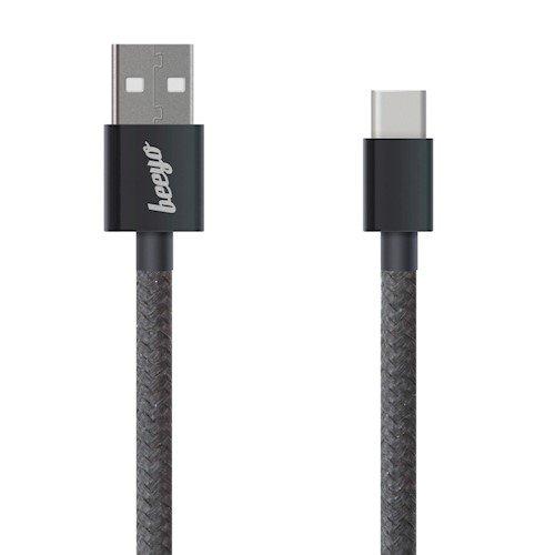 Beeyo Universāls Type-C Datu un uzlādes Kabelis 1m Melns USB kabelis
