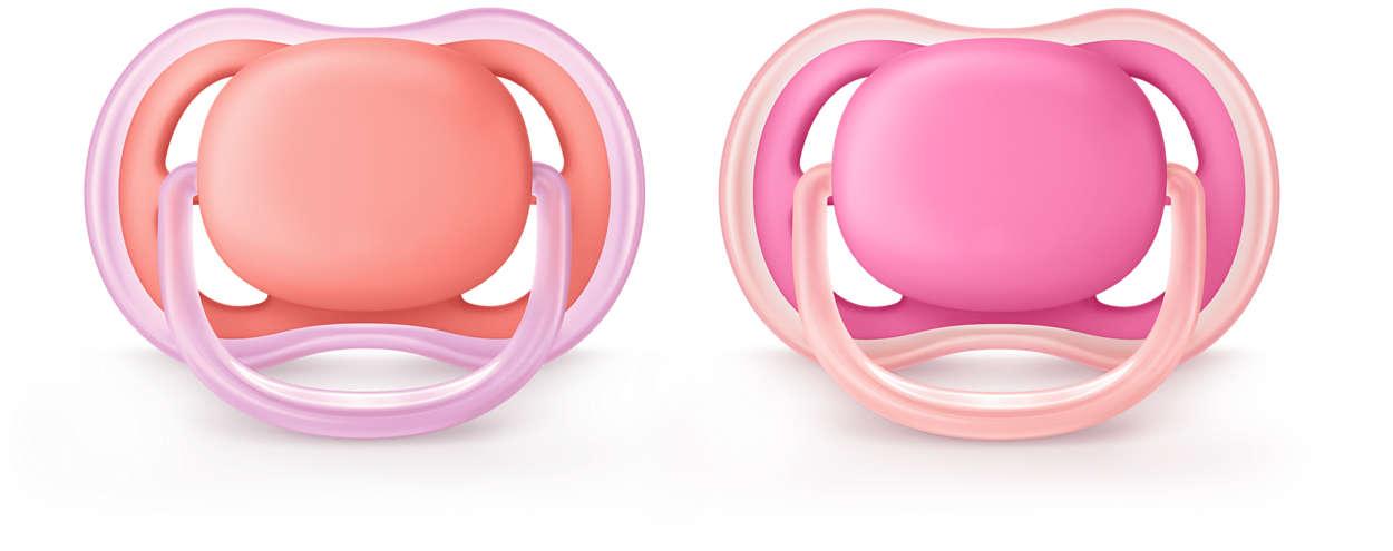 Philips Avent Ultra Air silikona māneklītis, 6-18 mēn., meitenēm (2 gab) māneklītis, knupis