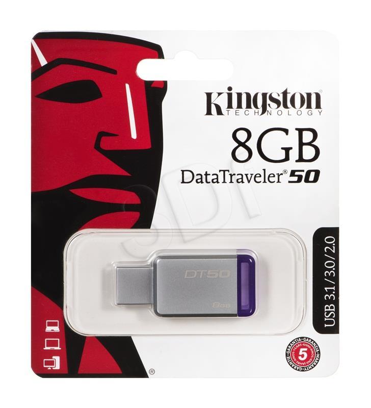 Kingston 8GB USB 3.0 DataTraveler 50 (Metal/Purple) USB Flash atmiņa