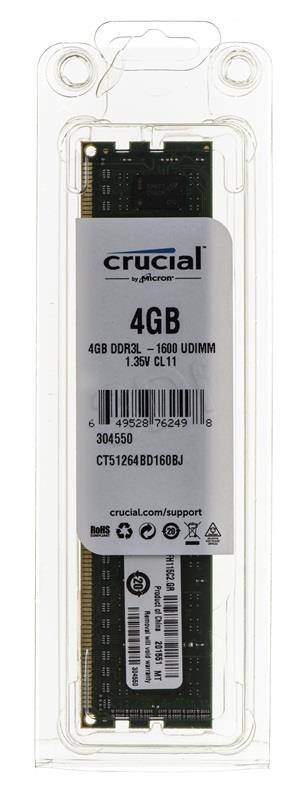 Crucial 4GB, 240-pin DIMM, DDR3 1600MHz, CL11, Unbuffered, non ECC, PC3-12800, 1.35V operatīvā atmiņa