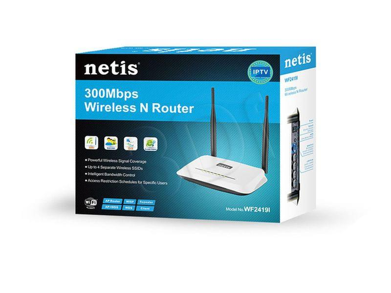 Netis Router WIFI G/N300 + LAN x4, Antena 5 dBi WiFi Rūteris