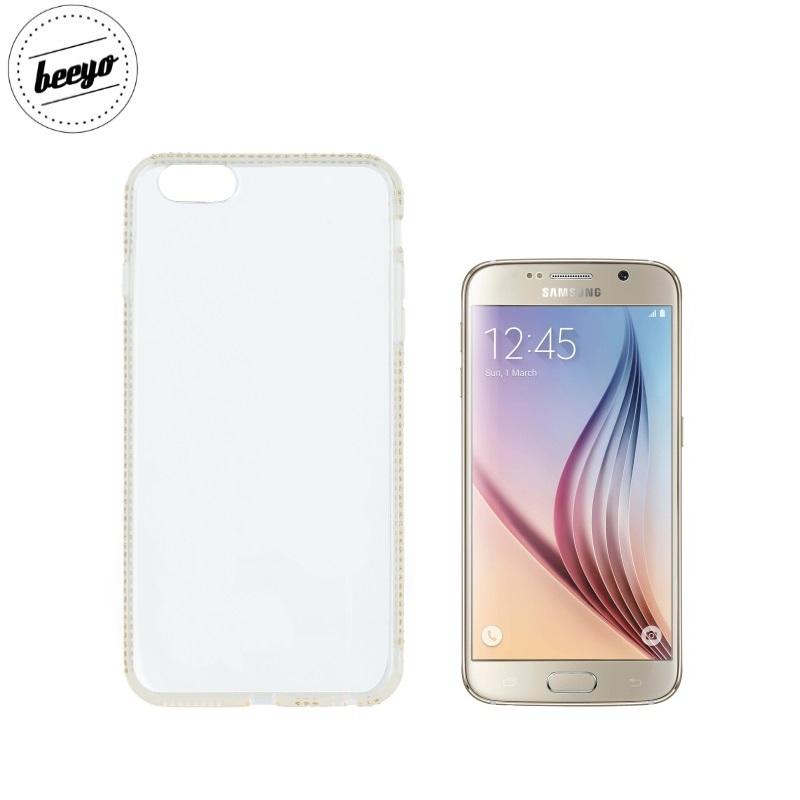 Beeyo Diamond frame super plāns silikona caurspīdīgs aizmugures maks-apvalks priekš Samsung G920F Galaxy S6 Zeltains