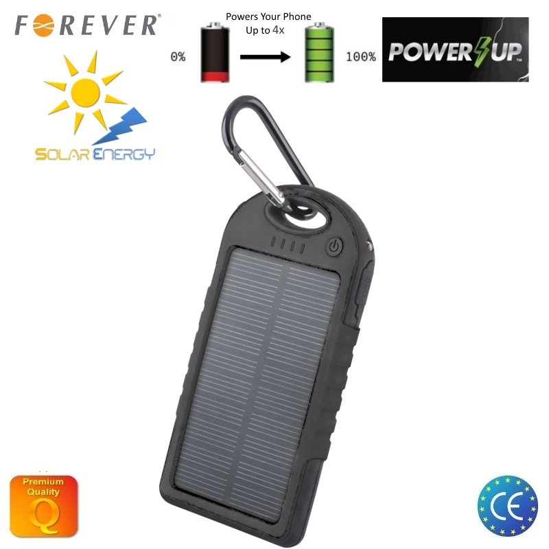 Forever PB-016 Gaismas Uzlādes Power Bank 5000mAh   rējas Uzlādes batereja 2x USB 5V 1A Ligzdas Ūdensizturīgs Melns aksesuārs mobilajiem telefoniem