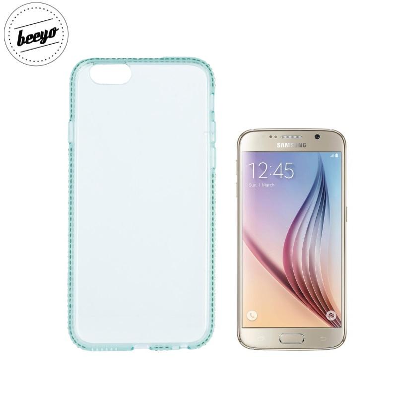 Beeyo Diamond frame super plāns silikona caurspīdīgs aizmugures maks-apvalks priekš Samsung G920F Galaxy S6 Zaļš