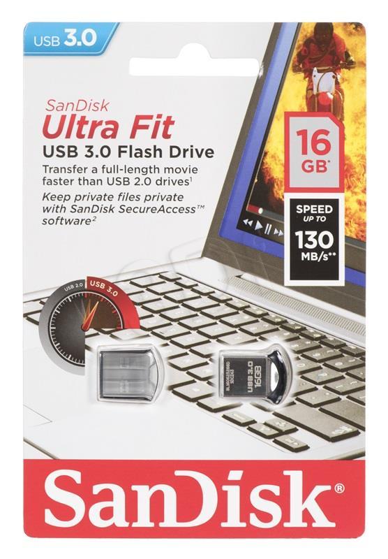 SanDisk Ultra Fit 16GB USB3.0, 128-bit AES, Up to 130MBs USB Flash atmiņa