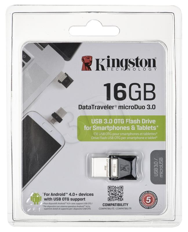 Kingston Flashdrive 16GB DT microDuo USB 3.0 micro USB OTG USB Flash atmiņa