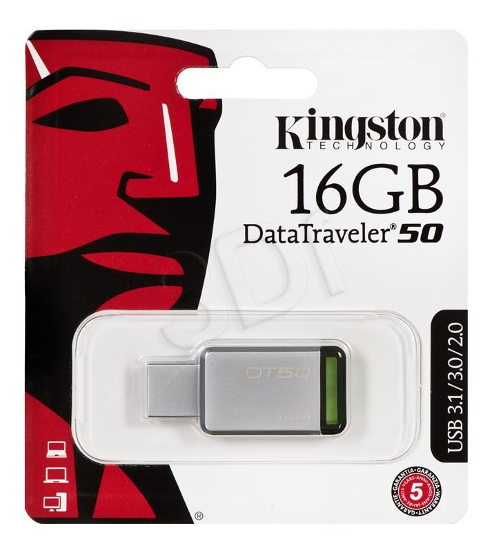 Kingston DataTraveler 50 16 GB, USB 3.0, Metal/Green USB Flash atmiņa