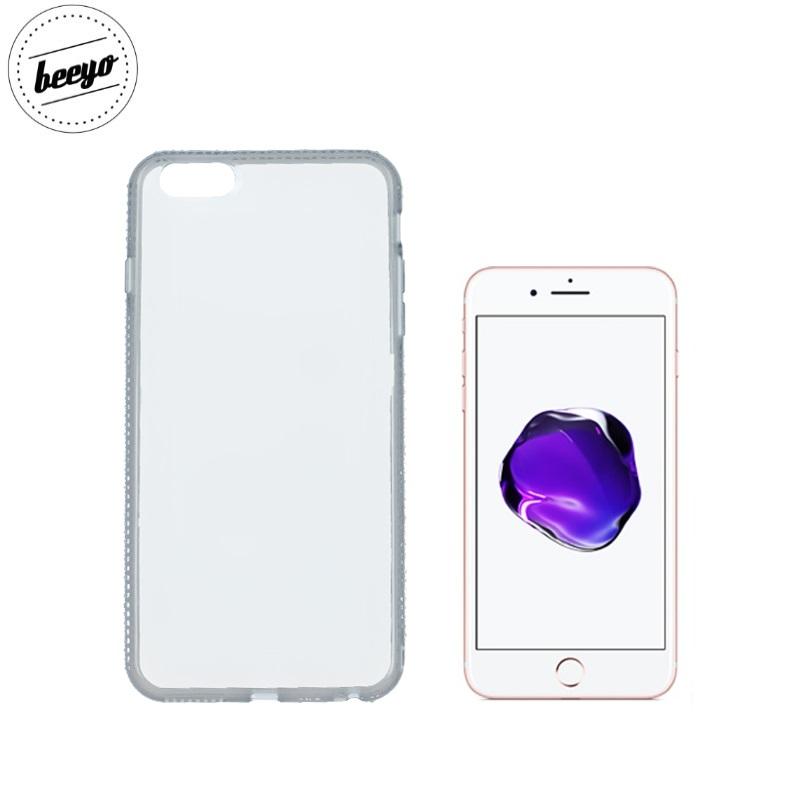Beeyo Diamond frame super plāns silikona caurspīdīgs aizmugures maks-apvalks priekš Apple iPhone 7 Plus (5.5inch) Pelēks