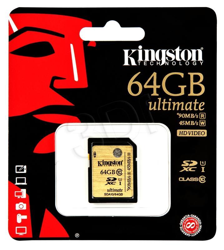 Kingston 64GB SDXC Class 10 UHS-I Ultimate (transfer up to 90MB/s) atmiņas karte