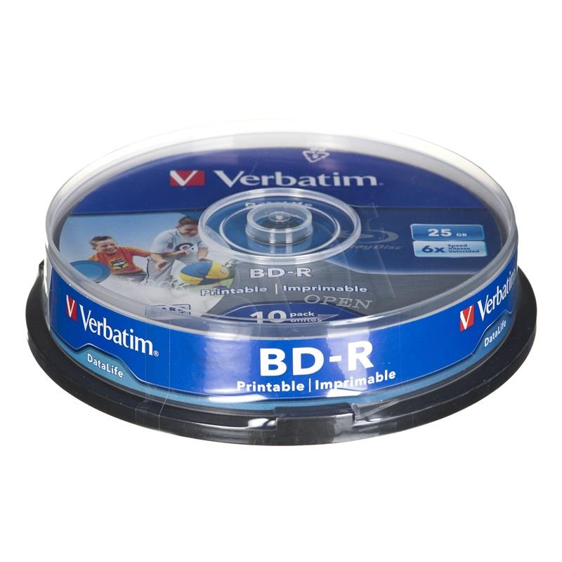 BluRay BD-R SL DATALIFE Verbatim [ Spindle 10 | 25GB | 6x [Wide PRINTABLE NO ID] matricas