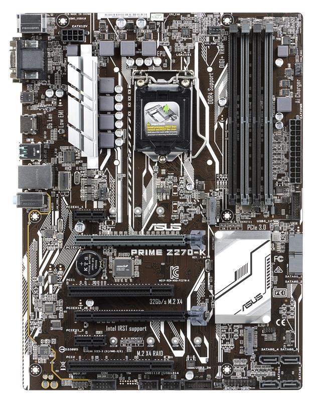 ASUS PRIME Z270-K, Z270, LGA1151, ATX, 4x4DDR4 pamatplate, mātesplate