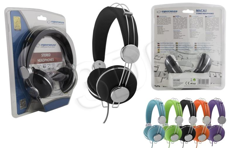 ESPERANZA EH149K MACAU Audio Stereo Headphones with volume control   | 3m austiņas