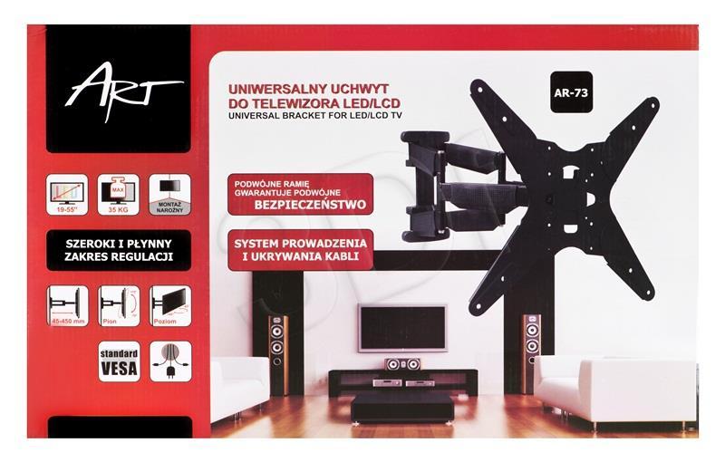 ART Holder AR-73 for  LCD/LED 19-55'' 35kg reg. vertical/level double arm TV stiprinājums