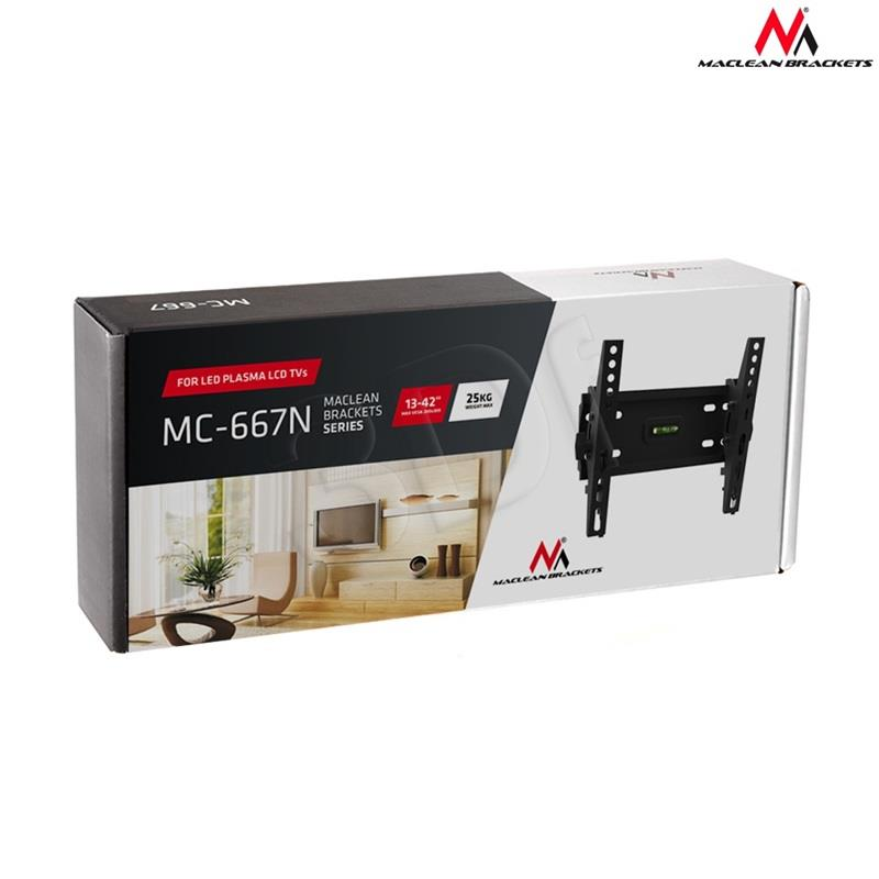 Maclean MC-667N Wall Mounted TV Bracket Tilt Flat LED LCD  23-42'' 25kg TV stiprinājums