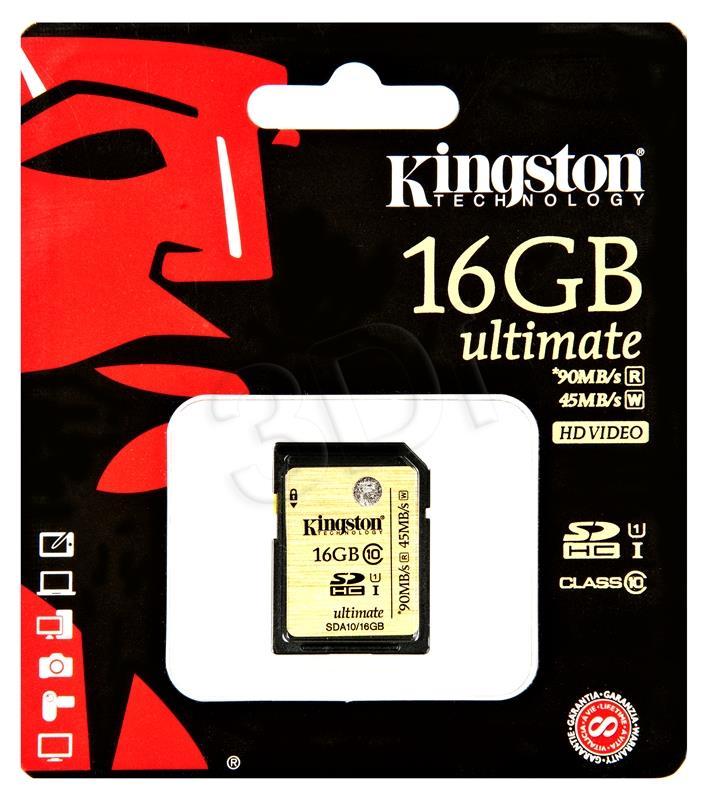 KINGSTON MEMORY SECURE DIGITAL HC 16GB/C10 UHS-I SDA10/16GB atmiņas karte
