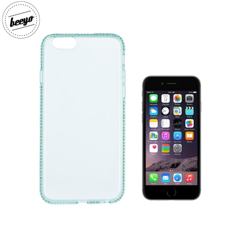 Beeyo Diamond frame super plāns silikona caurspīdīgs aizmugures maks-apvalks priekš Apple iPhone 6 / 6S (4.7inch) Zaļš