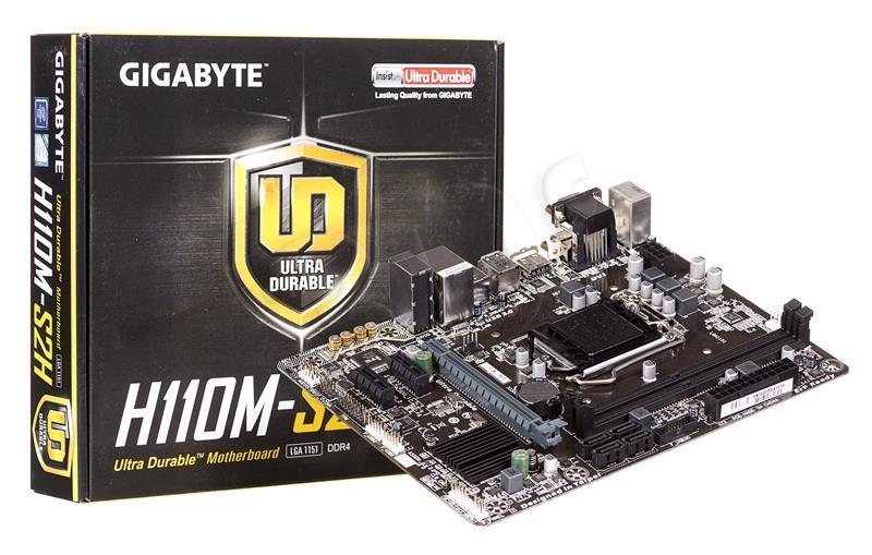 Gigabyte GA-H110M-S2H, H110, DualDDR4-2133, SATA3, HDMI, DVI, D-Sub, mATX pamatplate, mātesplate