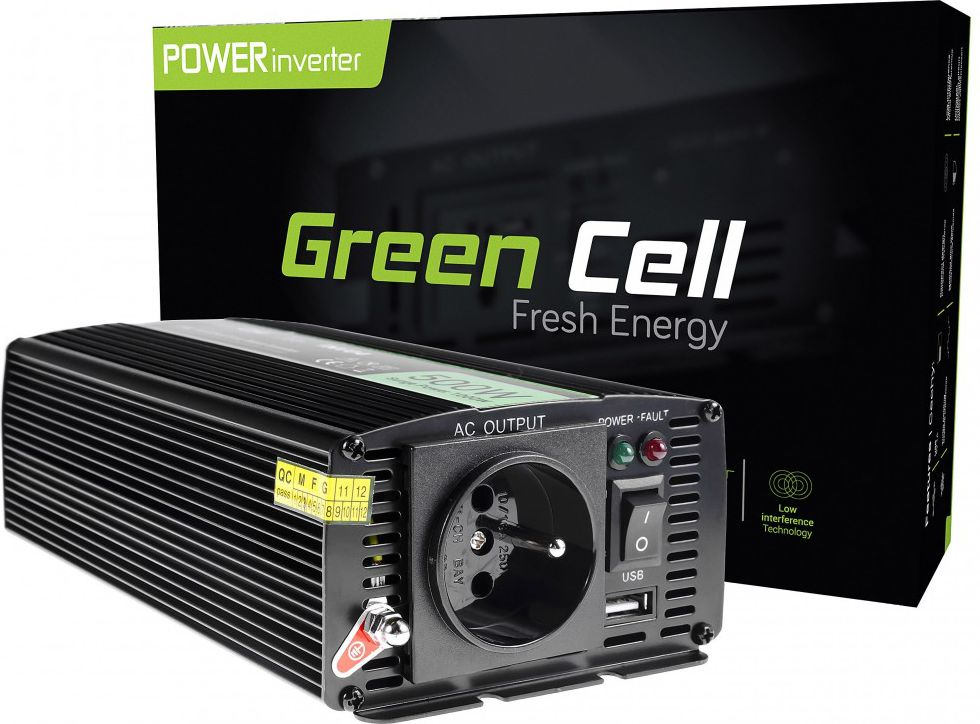 Green Cell Car Power Inverter 24V to 230V, 500W/1000W Strāvas pārveidotājs, Power Inverter