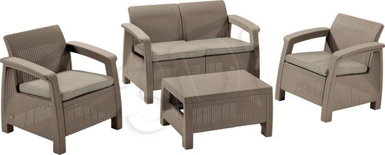 Garden furniture Curver Allibert Corfu set Set: Sofa, two Armchairs, cappuccino table - sand Dārza mēbeles