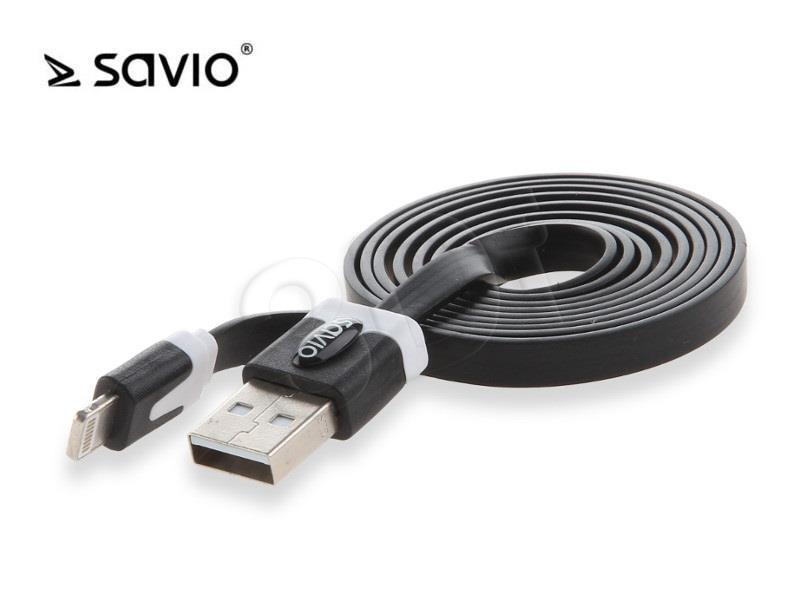 SAVIO KABEL USB - LIGHTNING 8PIN - 1 M black CL-73 kabelis, vads