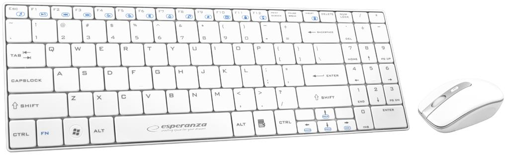 ESPERANZA EK122W LIBERTY - SLIM Wireless Keyboard + Wireless Mouse USB | 2.4 GHz klaviatūra