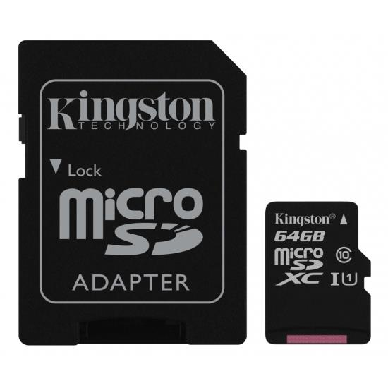 Kingston 64GB microSDXC Canvas Select 80R CL10 UHS-I Card + SD Adapter atmiņas karte