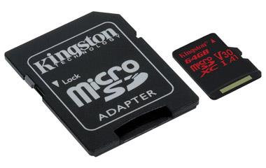 Kingston microSDXC Canvas React 64GB 100R/80W U3 UHS-I V30 A1 Card + SD adapter atmiņas karte