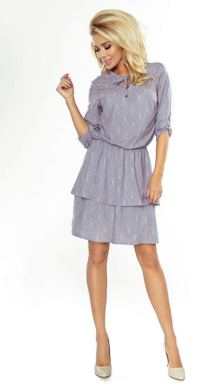 numoco Tina Sukienka z podwojna spodnica i rekawkiem 3/4 182 jasny szary z neonowymi wzorami r. XL 1016-6761 Kleitas sievietēm
