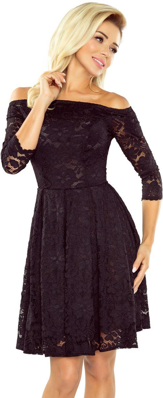 numoco Sukienka z odkrytymi ramionami - kontrafalda 168 czarna r. XL 969-6789 Kleitas sievietēm