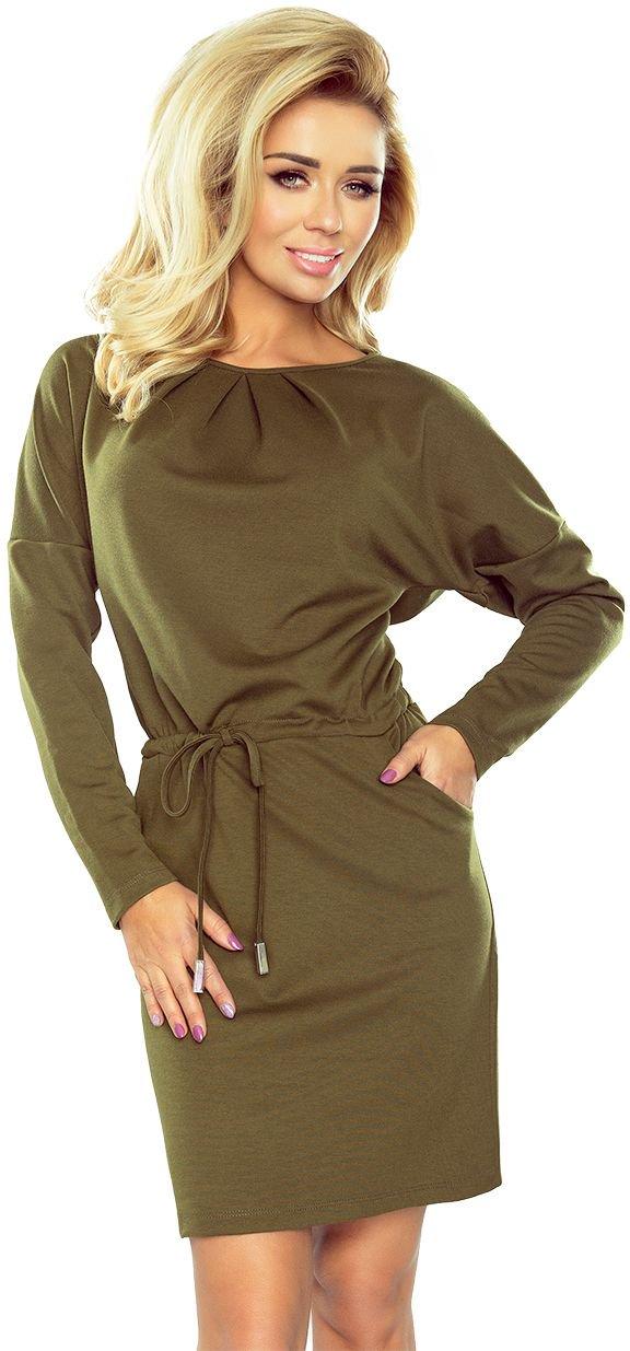 numoco Sukienka z trzema zakladkami pod szyja i dlugim rekawkiem Iza 183-1 khaki r. XL 1017-6769 Kleitas sievietēm