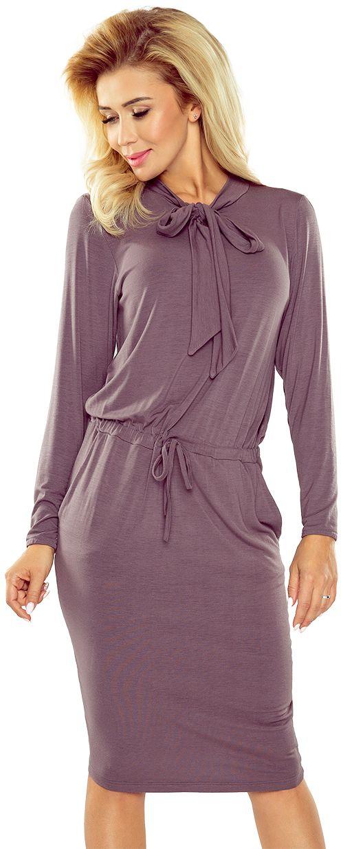 numoco Sukienka z wiazaniem pod szyja i dlugim rekawem  171-1 jasna sliwka r. S 970-6334 Kleitas sievietēm