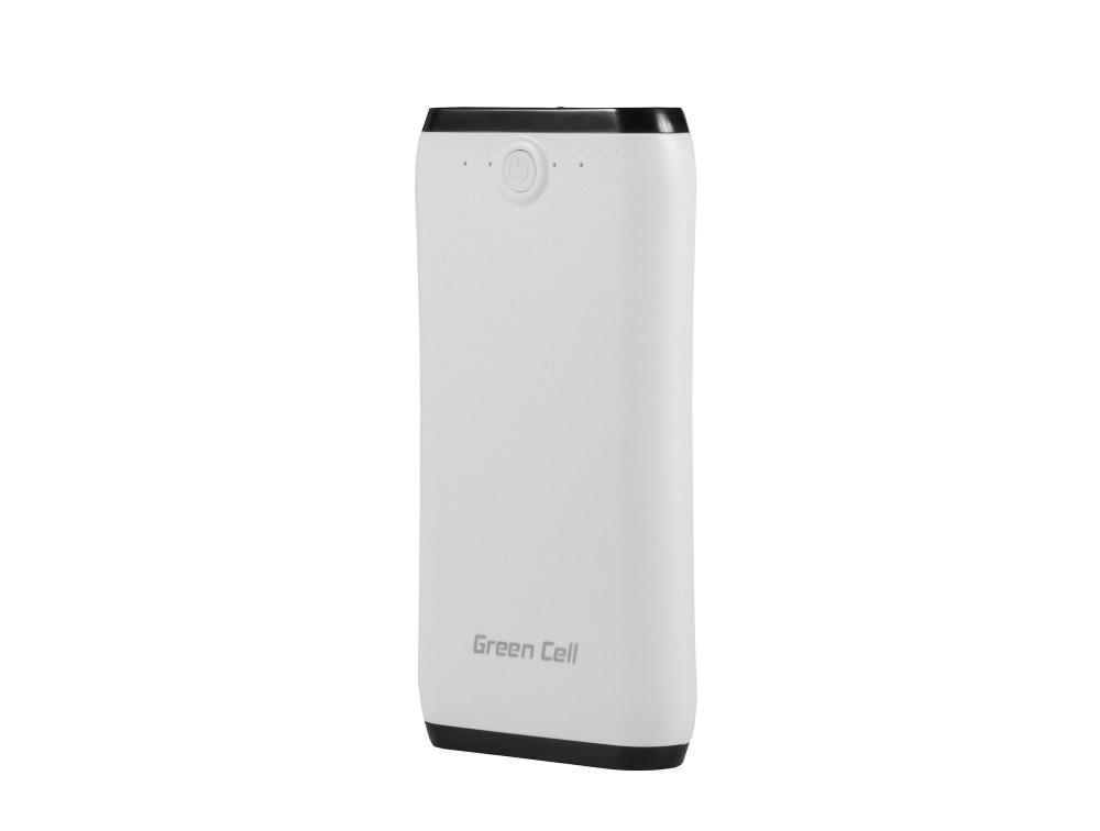Green Cell PB25BZ white/black (Capacity: 16400mAh Loading speed: 2.1A / 5V | Number of ports: 2) Powerbank, mobilā uzlādes iekārta