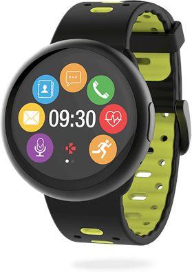 MyKronoz Smartwatch ZeRound 2 HR Premium Waterproof, Black/Yellow, Built-in pedometer, Heart rate monitor, TFT color touchscreen, Bluetooth, Viedais pulkstenis, smartwatch