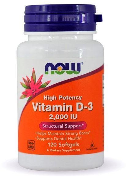 NOW Foods Vitamin D-3 2000IU 120 caps.