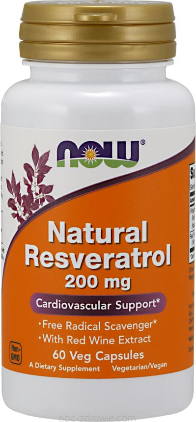 NOW Foods Natural Resveratrol 200mg 60 caps.