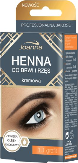 Joanna Henna for eyebrows and eyelashes cream 1.1 graphite 15ml ēnas
