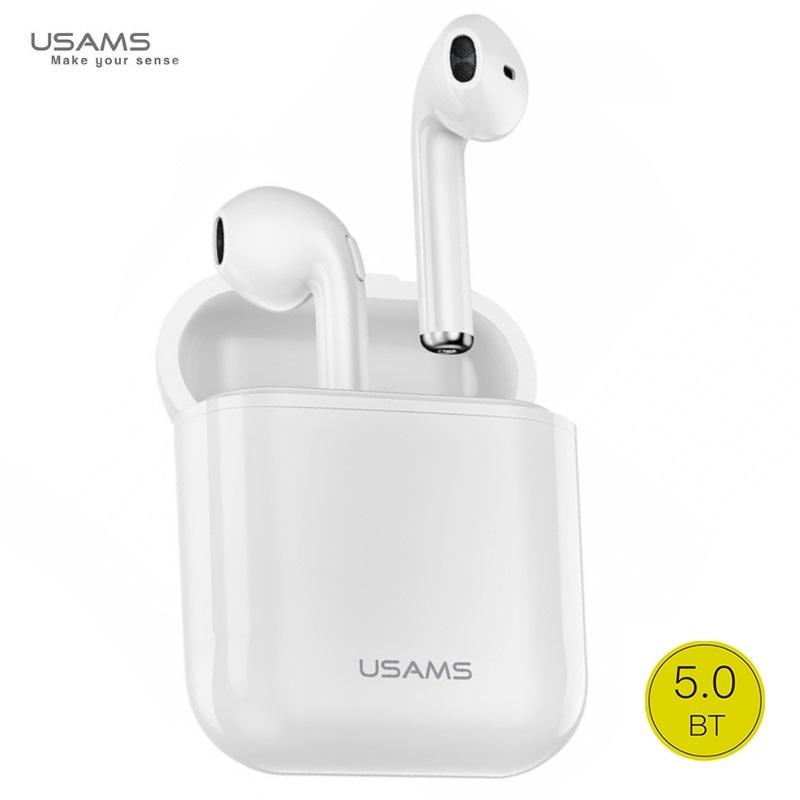 Usams LC Airpods Bluetooth 5.0 Stereo Austiņas ar Mikrofonu (MMEF2ZM/A) Analogs Baltas