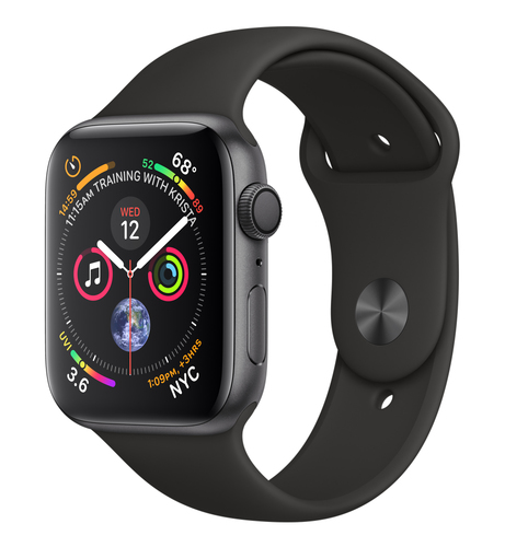 Apple Watch Series 4 GPS 44mm Grey Alu Black Sport Band Viedais pulkstenis, smartwatch
