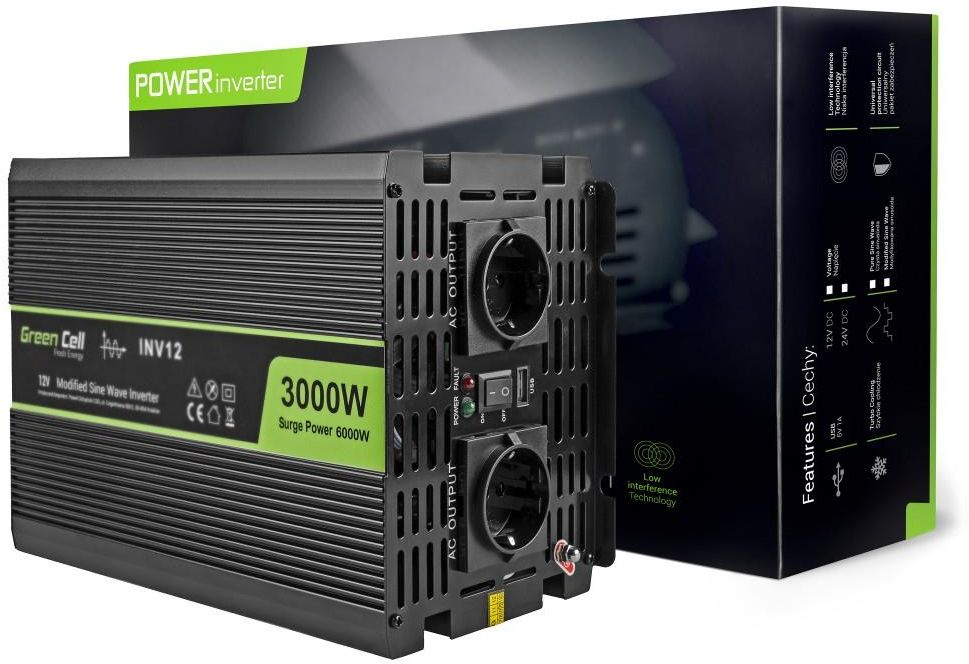 Green Cell Car Power Inverter 12V to 220V, 3000W/6000W Strāvas pārveidotājs, Power Inverter