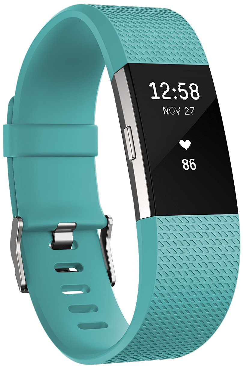 Fitbit Flex Charge 2 Teal Silver - Large FB407STEL-EU OLED, Teal Silver, Bluetooth, Built-in pedometer, Heart rate monitor, GPS (satellite), Viedais pulkstenis, smartwatch