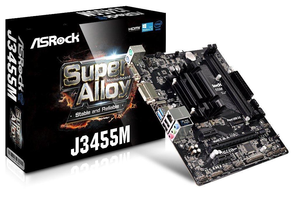 ASRock J3455M, J3455, DDR3, SATA3, HDMI, DVI-D, microATX (90-MXB450-A0UAYZ) pamatplate, mātesplate