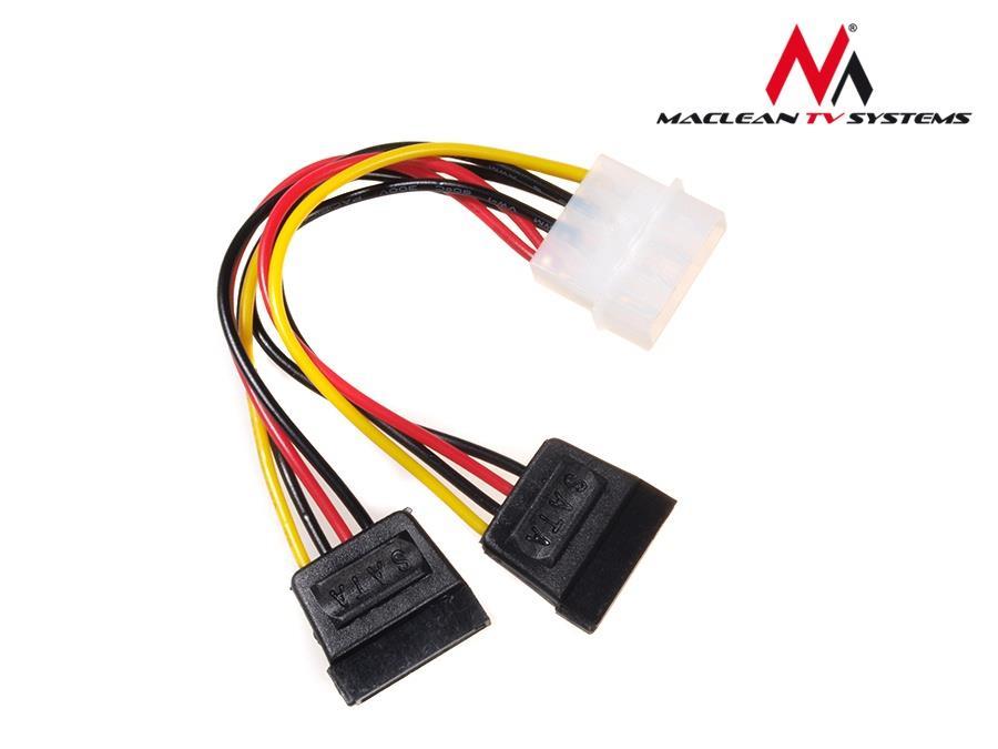 Maclean MCTV-632 Power Converter Cable Adapter Molex 2xSATA kabelis datoram