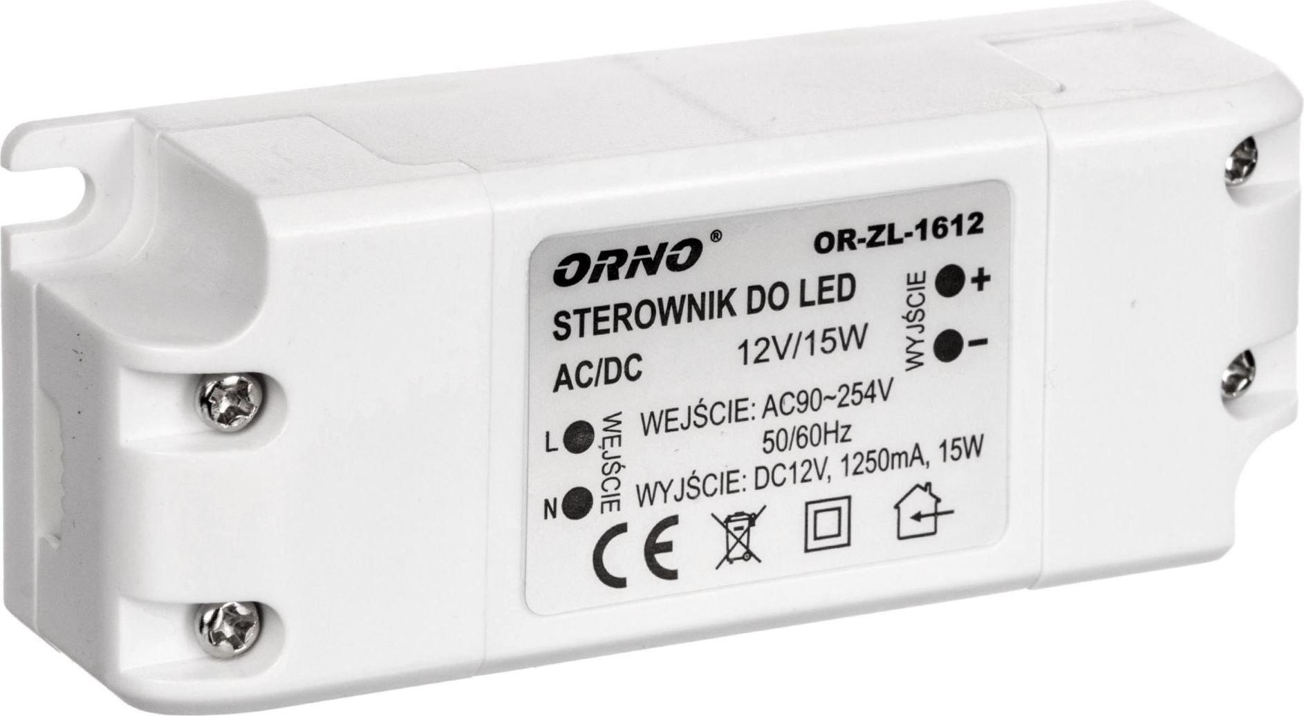 Orno driver LED 12V DC 15W 1,25A IP20  (OR-ZL-1612) apgaismes ķermenis